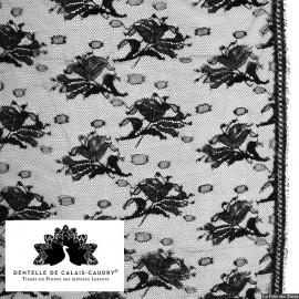 Tissu Dentelle de calais® noir motif roses x10cm