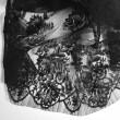 Tissu Dentelle de calais noir motif arabesque x10cm