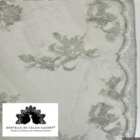 Tissu Dentelle de calais silex motif arabesque x10cm
