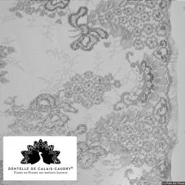 Tissu Dentelle de calais® grège lamé argent x10cm