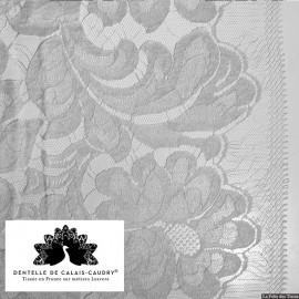Tissu Dentelle de calais® gris à grand motif x10cm