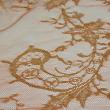 Tissu Dentelle de calais cuivre lamé or x10cm