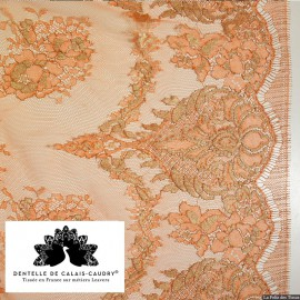 Tissu Dentelle de calais orange lamé argent x10cm