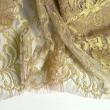 Tissu Dentelle de calais® rose lamé or x10cm