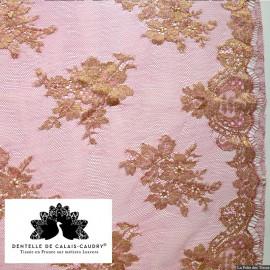 Tissu Dentelle de calais® fuchsia lamé or x10cm