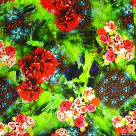 Tissu Satin de soie imprimé bucolique fond vert x10cm