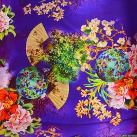 Tissu Satin de soie imprimé bucolique soleil levant violet x10cm