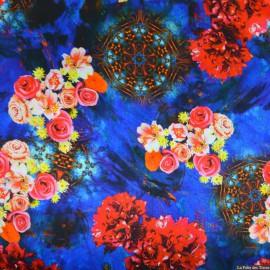 Tissu Satin de soie imprimé bucolique aquatique bleu x10cm