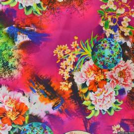 Tissu Satin de soie imprimé bucolique soleil levant rose x10cm