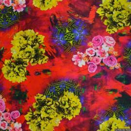 Tissu Satin de soie imprimé bucolique fleurs jaunes x10cm