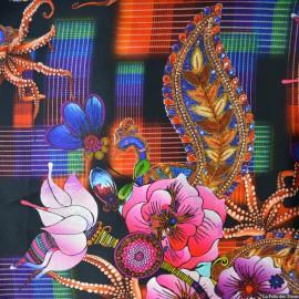 Tissu Satin de soie imprimé Bombay x10cm